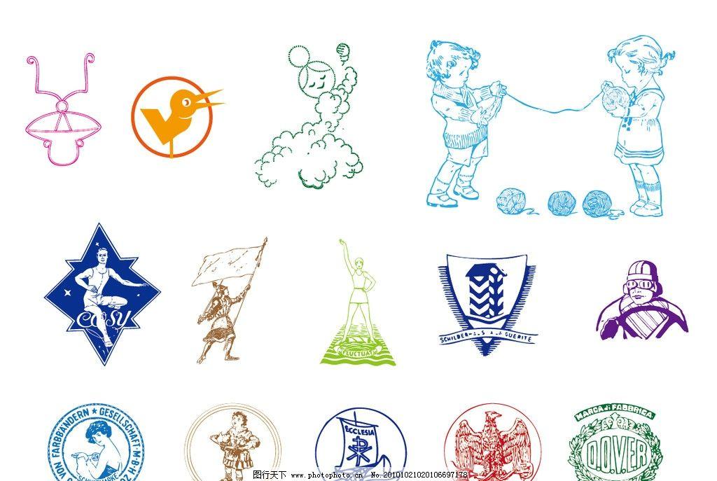 矢量 logo 设计素材 小图标 经典logo 国外 毛线 小孩 小鸟 帆 鹰