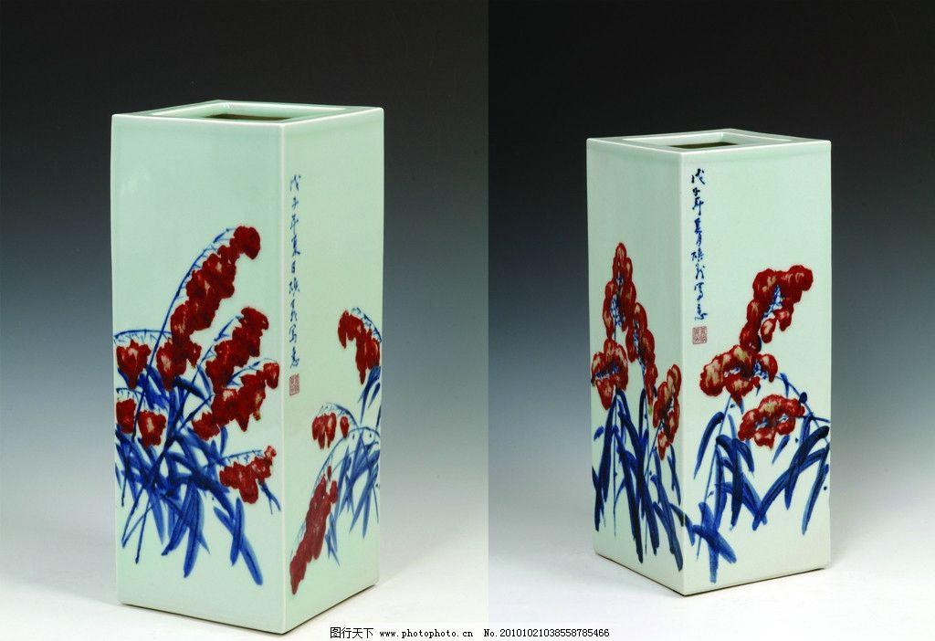 花瓶 花 青花 花纹 瓶 瓷器 陶器 四方 传统文化 文化艺术 摄影 300