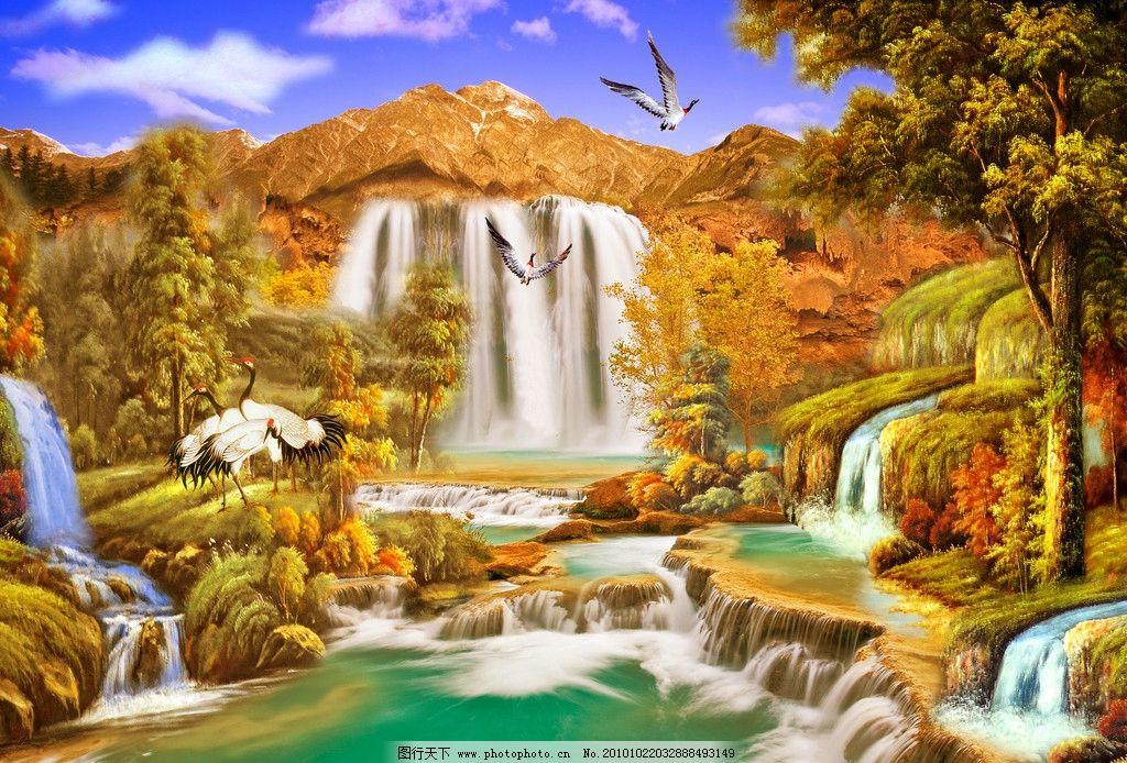 山水画 山水油画 油画 油画山水 风景画 风景油画 油画风景 瀑布
