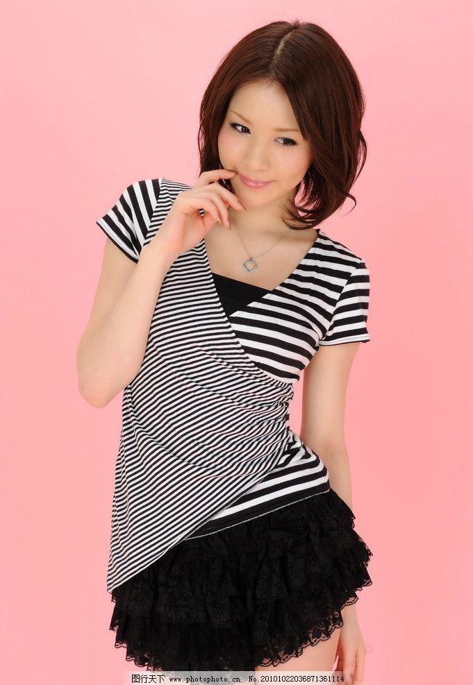 条纹衫美女 立花 美女 短裙 短发 苗条 模特 性感美女写真 女性女人