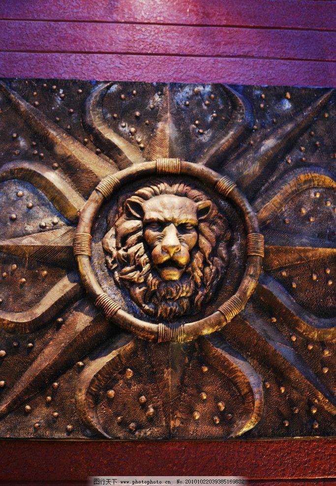 狮头 洋货街 欧式风格 墙壁 雕像 灯光 室内摄影 建筑园林 摄影 96dp