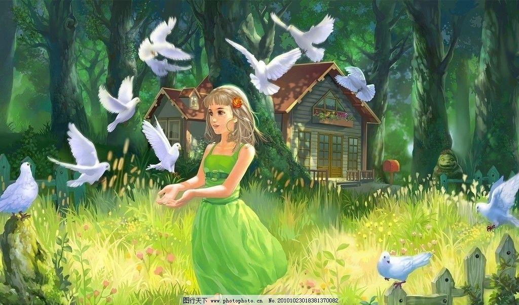 宽屏壁纸 白鸽 女孩 童话 纯真 唯美 自然风景 绿色 jpg 动漫人物