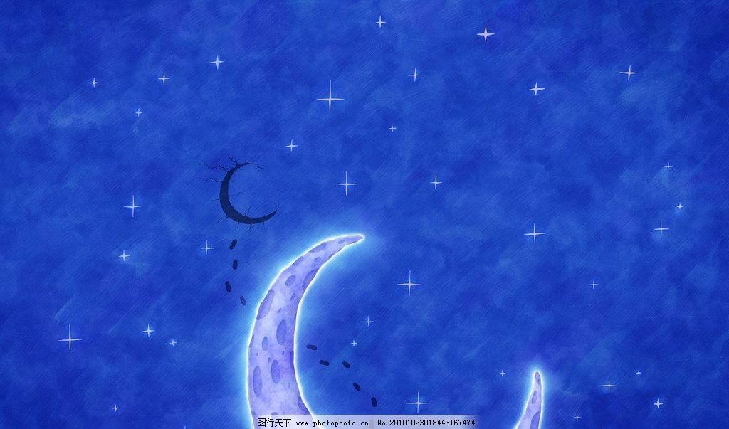 月亮 月亮壁纸 蓝色天空 夜空 星星 风景漫画 动漫动画 设计 200dpi j