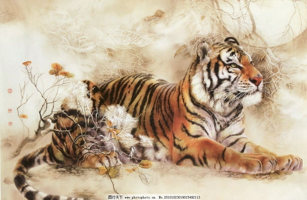 工笔画线描动物
