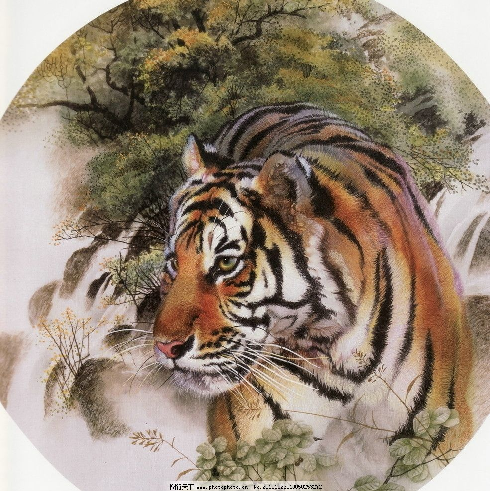 树木 大师作品 风景画 工笔画走兽 动物 禽兽 工笔动物画 走兽 老虎