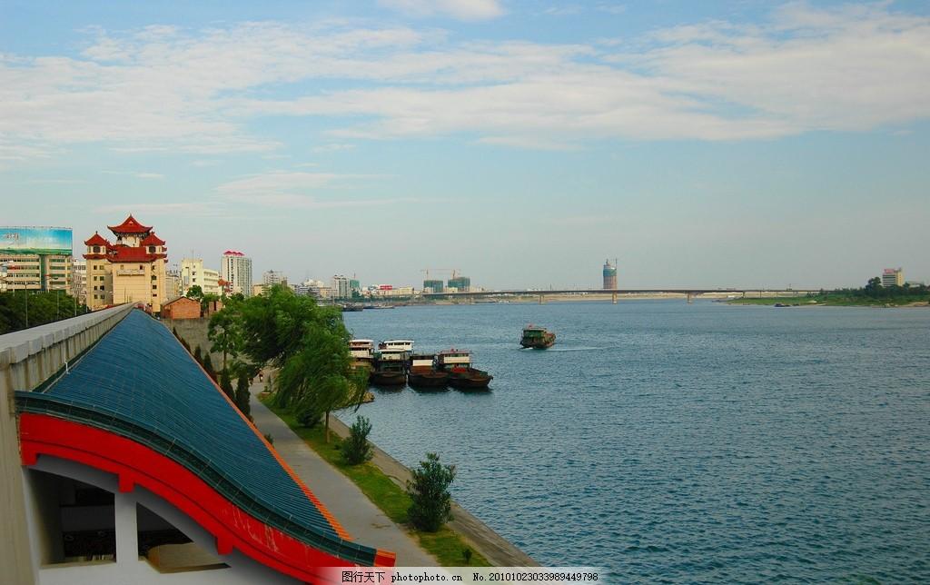 常德诗墙 湖南常德诗墙公园 沅江 天空 大厦 风景名胜 摄影图库