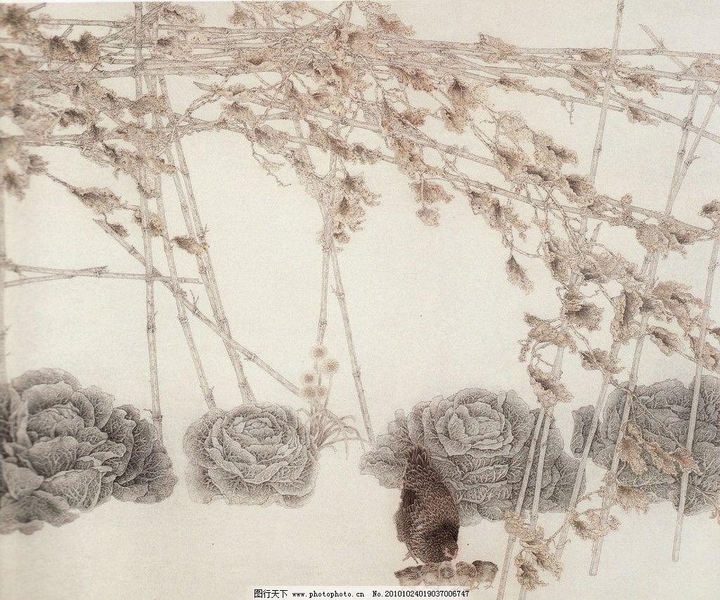 冬种之二 工笔画 线描 国画 中国画 植物 树木 大师作品 风景画