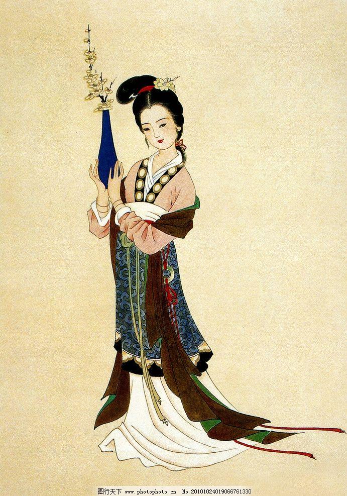 梅花仙子 绘画 中国画 工笔重彩画 古代神话人物 花神 仙女 美貌 天生
