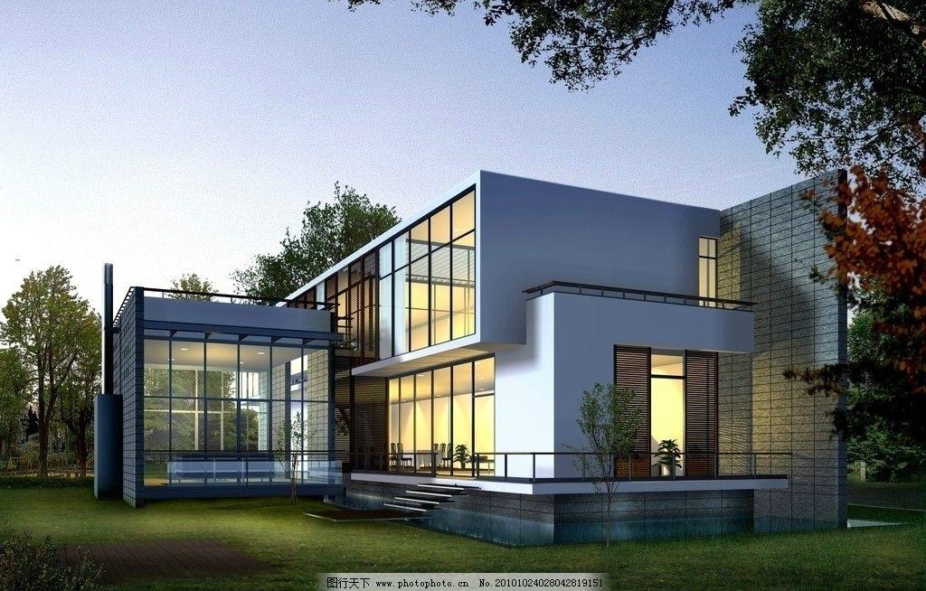 现代别墅设计 现代 风格 别墅 落地玻璃 3d        建筑设计 环境设计