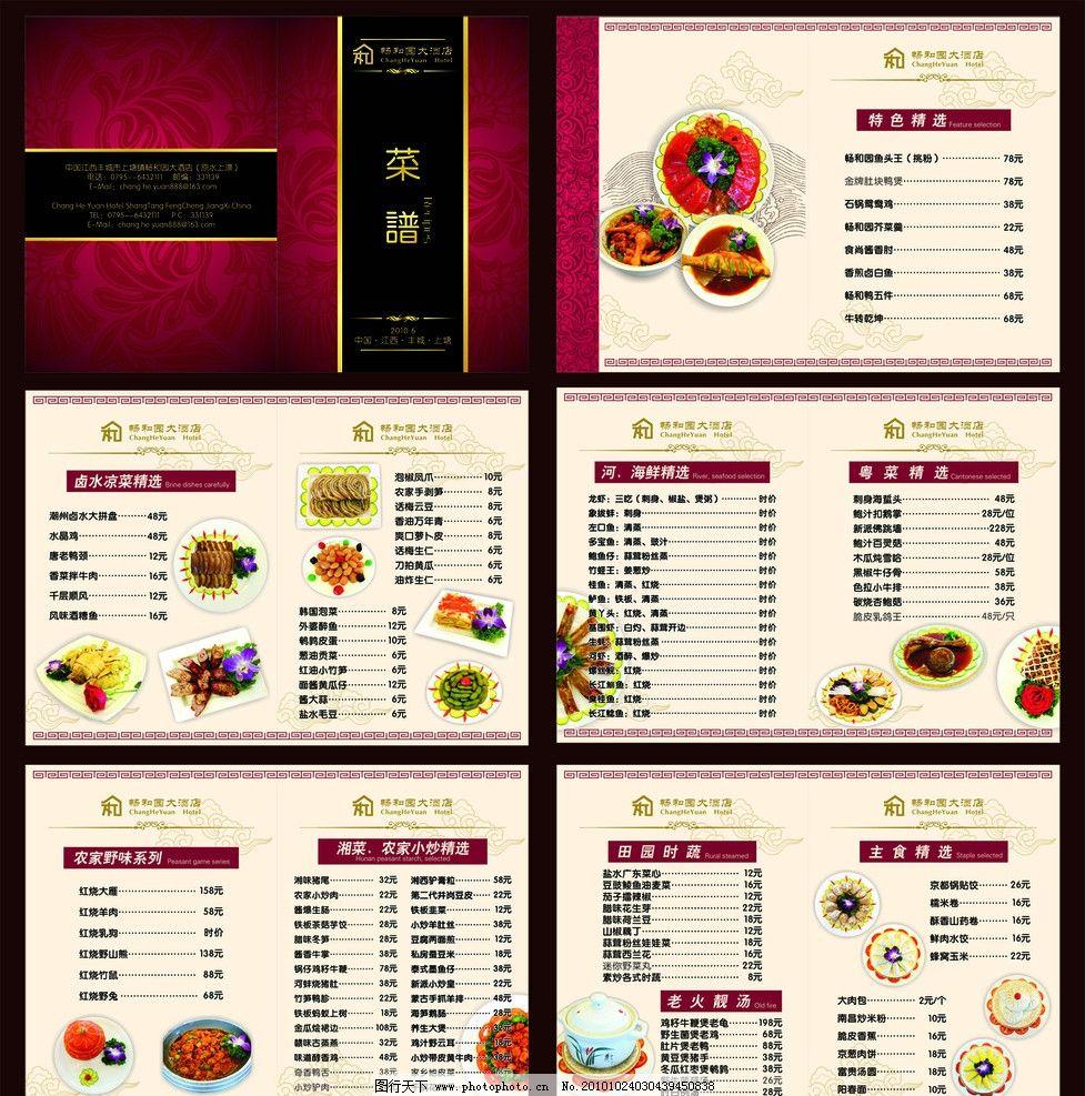 酒店菜谱 大酒店菜谱设计 菜单设计 菜谱模板 菜 农家野味 卤水凉菜