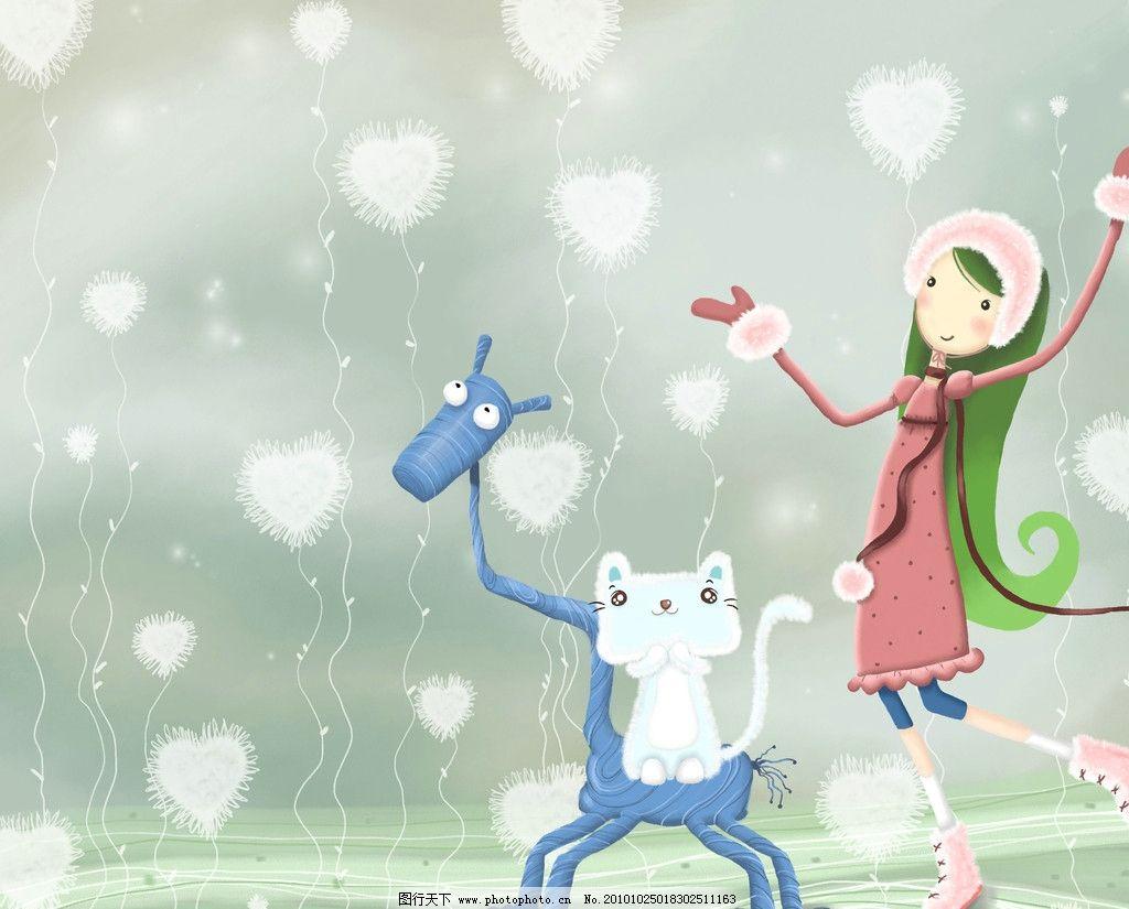 可爱女孩一 女孩 马 小猫 动漫人物 动漫动画 设计 72dpi jpg