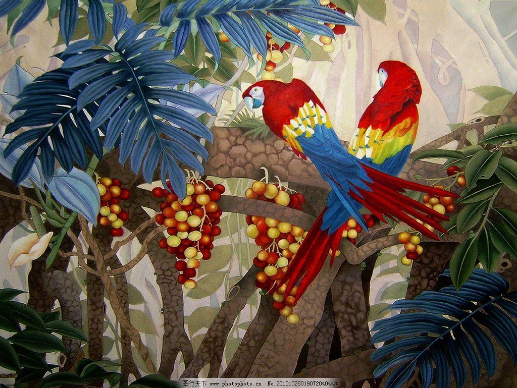 热带雨林 美术 国画 水墨画 彩墨画 风景画 壁画 森林 热带植物 树木