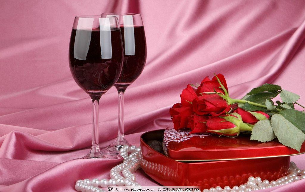 玫瑰花 礼盒 红酒图片