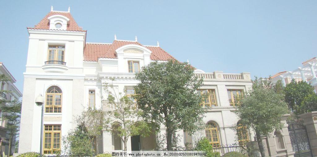 白色欧式别墅图片素材下载