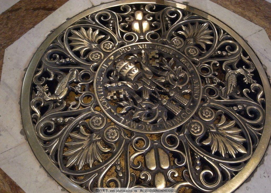 梵蒂冈 博物馆 西斯廷教堂 欧式窨井盖 圆盘 金色雕花 雕花 欧式雕花