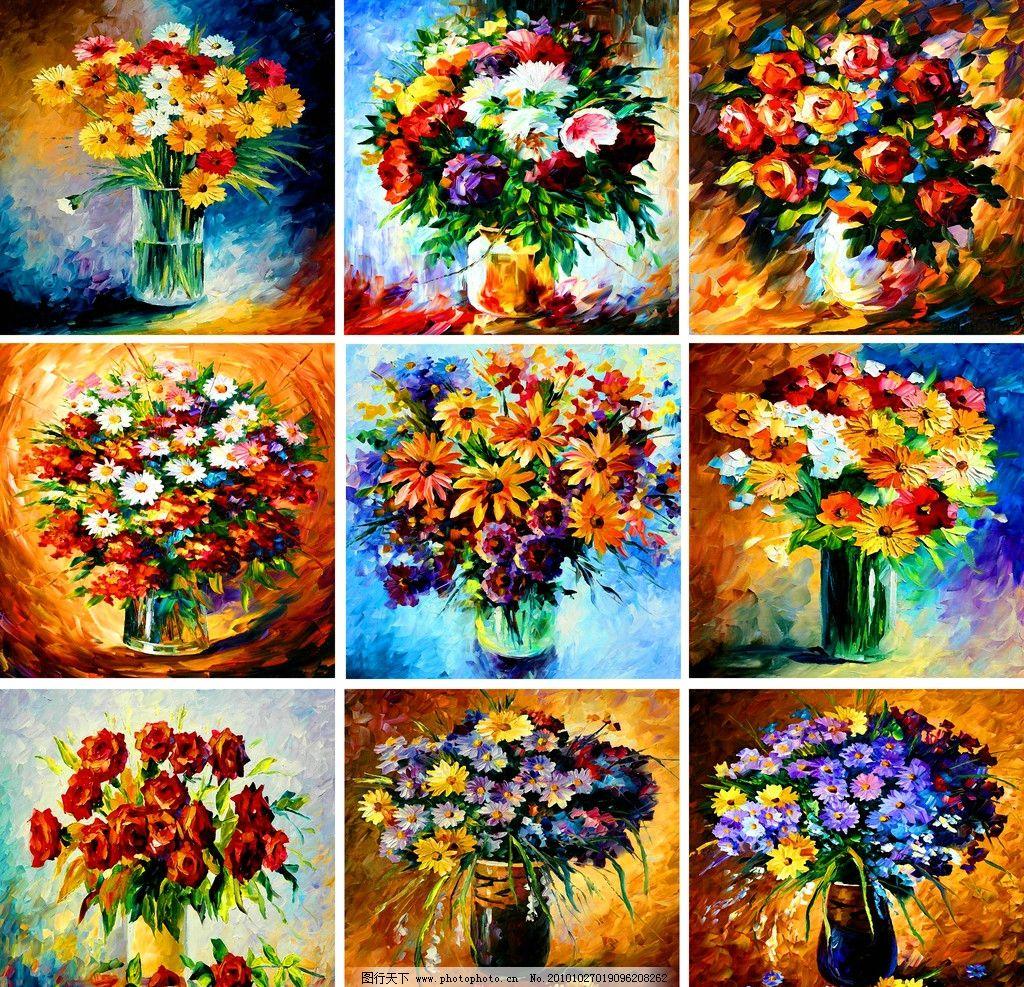 缤纷花卉油画 油画 无框画 装饰画 手绘 缤纷 花卉油画 素材