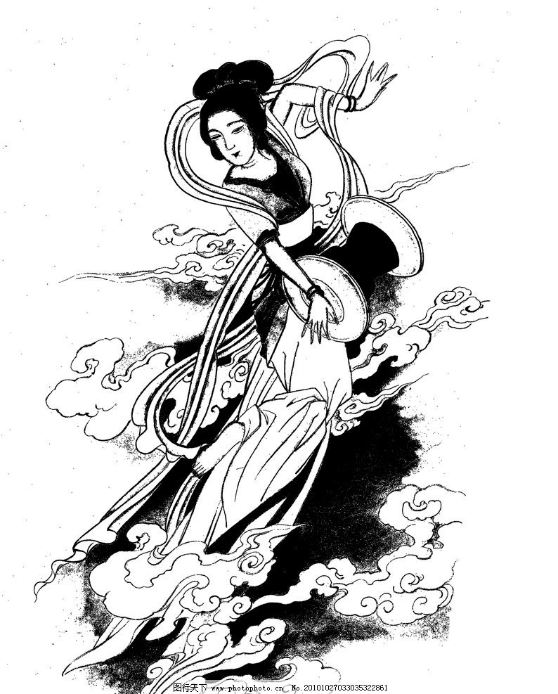 敦煌飞天线稿图片-敦煌莫高窟的九层楼图片