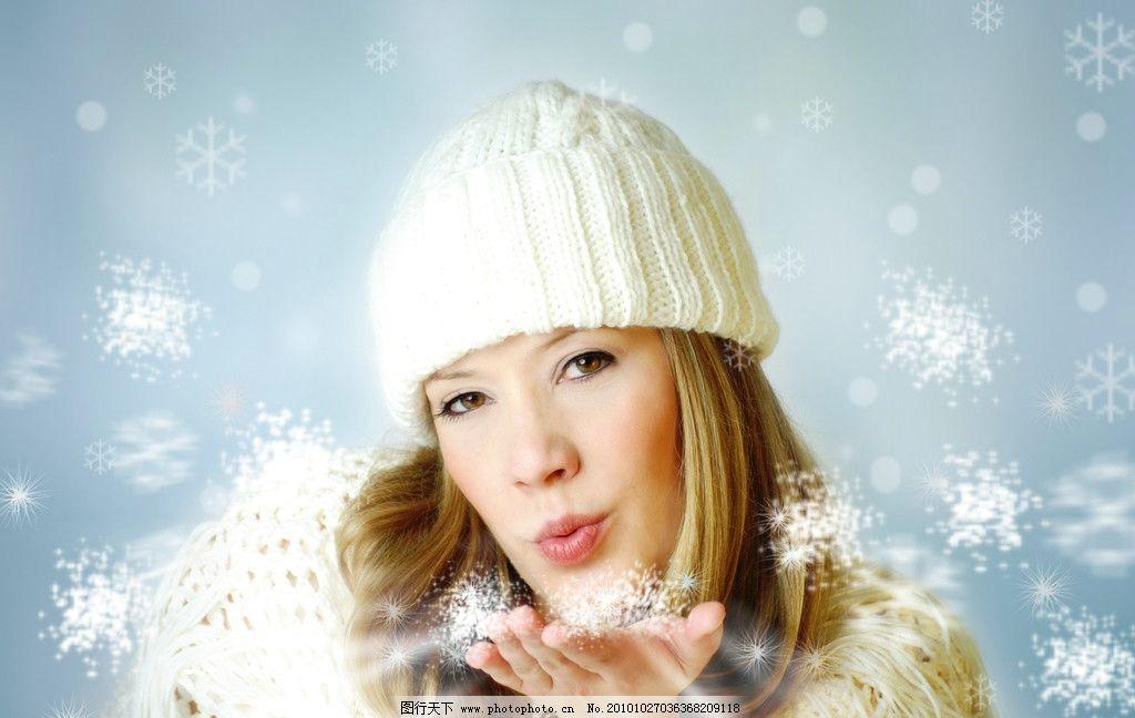 冬季 美女图片,冬天 雪花 下雪 冬装 模特 时装-图行