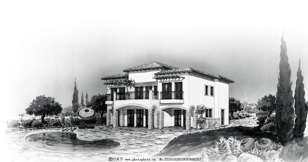 建筑效果图 别墅 黑白        灰色 手绘 色彩 湿润 草地 白墙 道路