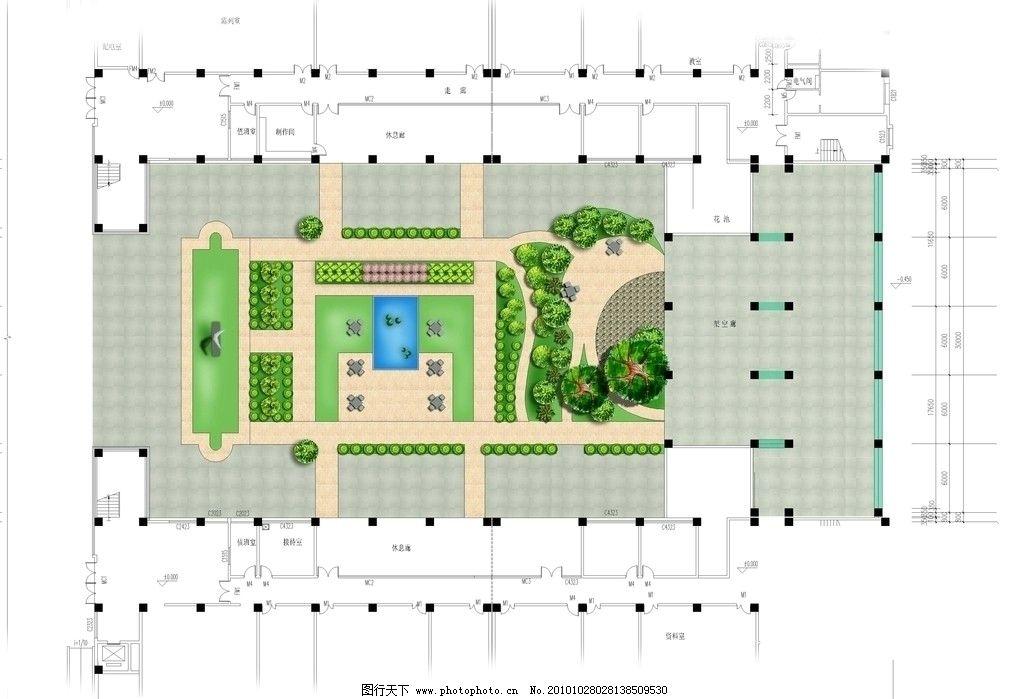 校园中庭平面图图片