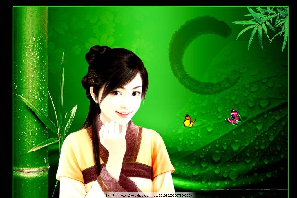 绿色背景女生图片