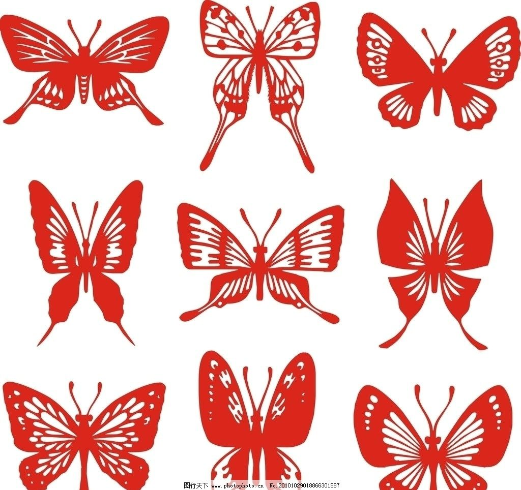 蝴蝶剪纸图片