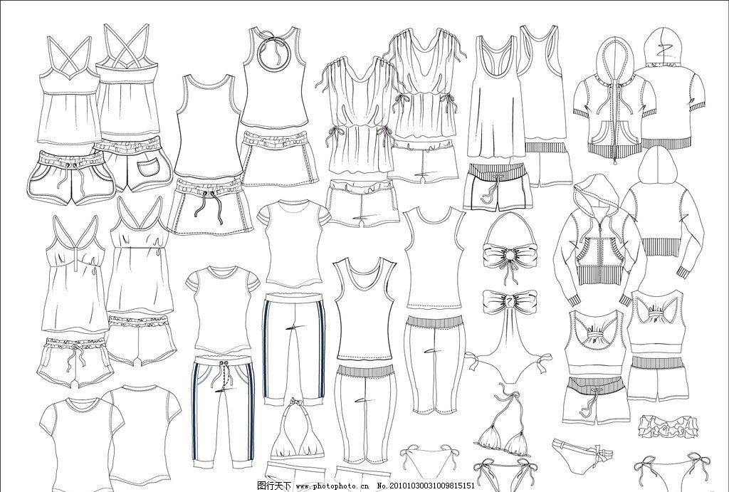 沙滩泳衣设计手绘