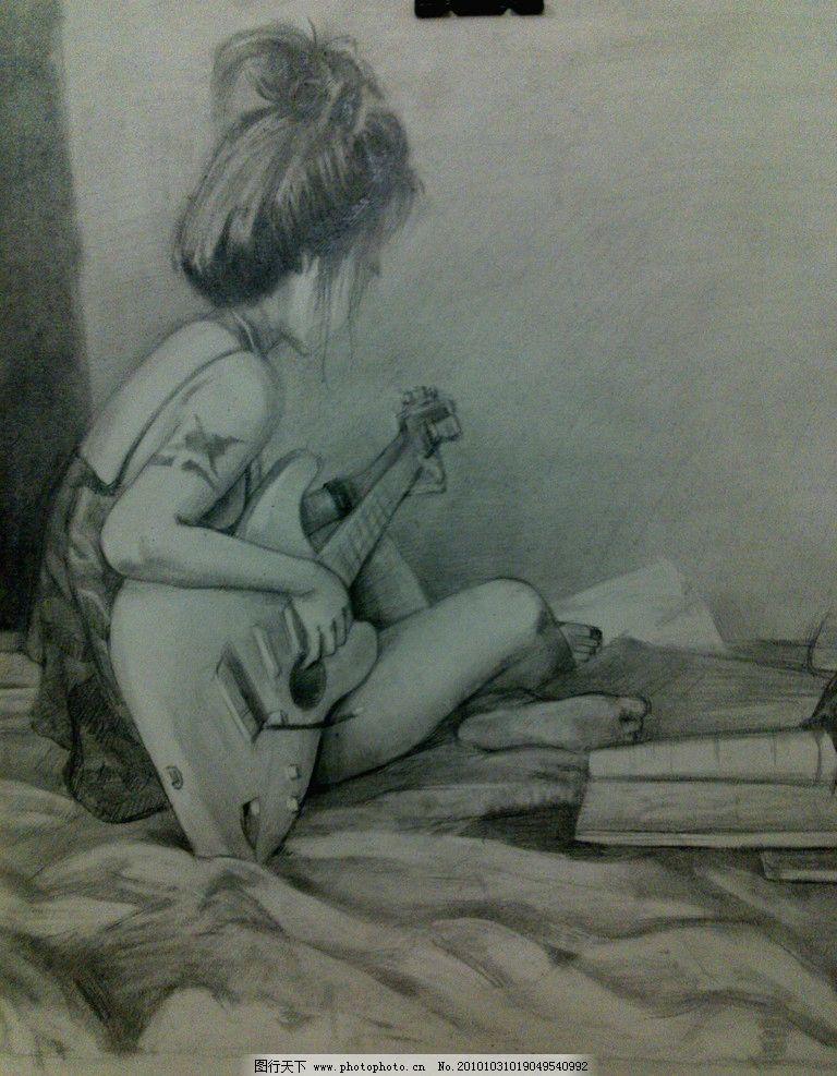 女孩 素描 弹吉他 素描画 素描肖像 绘画书法 文化艺术 设计 300dpi j