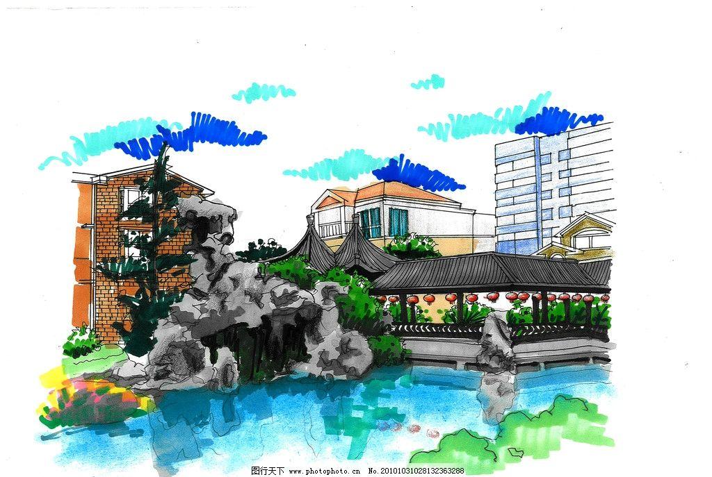 别墅周边小景手绘 假山 水景 手绘 别墅 景观设计 环境设计 设计 200