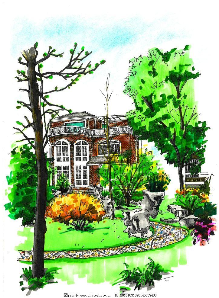 别墅景观手绘 别墅 景观 景观设计 环境设计 设计 200dpi jpg