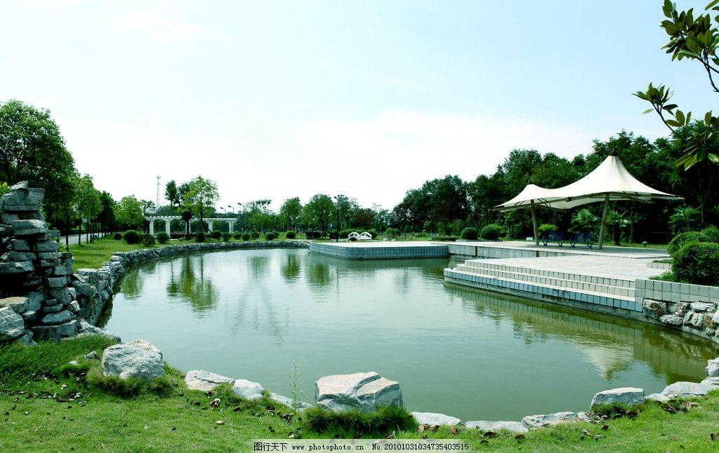 公园 风景 美景 自然景观 建筑景观 亭 湖 池塘 蓝天 青龙湖 彭墩