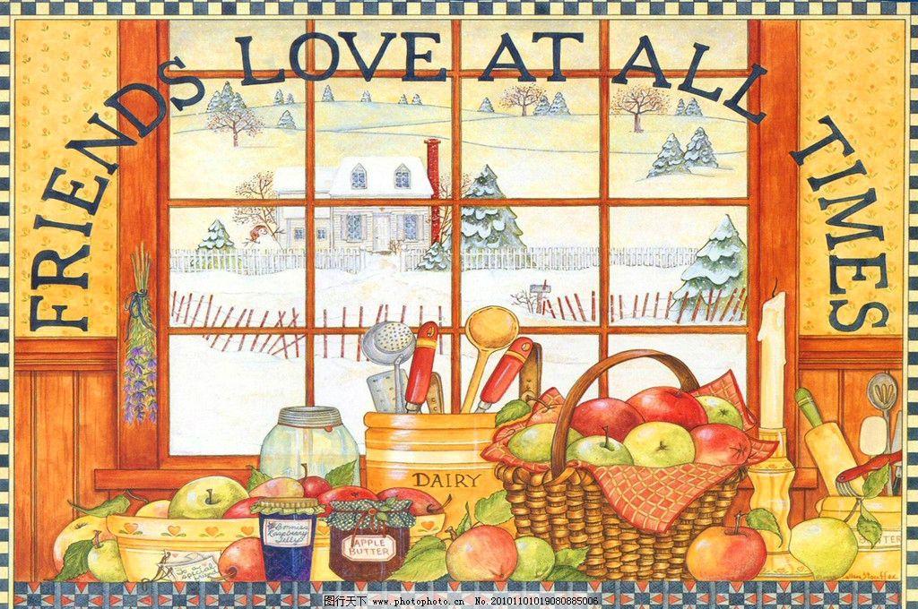 冬天的橱窗 静物 冬天 水果篮 厨具 橱窗 卡通 装饰画 无框画 手绘
