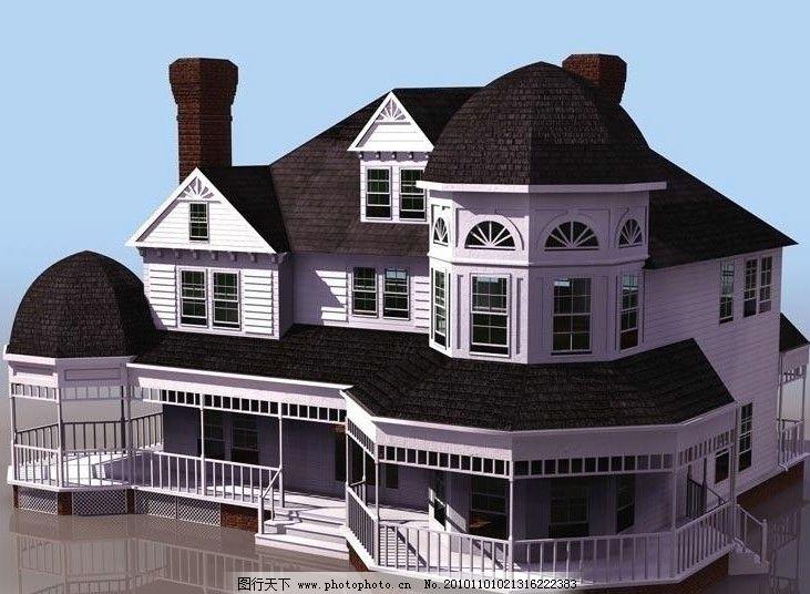 3d模型 欧式 小高层 建筑 别墅图片