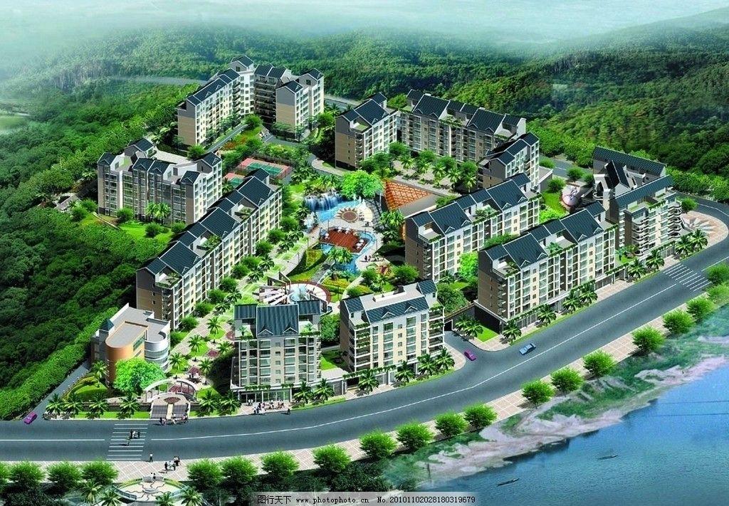 高楼 小区 绿化 园林景观设计效果图 房地产设计欣赏 高楼大厦 湖面