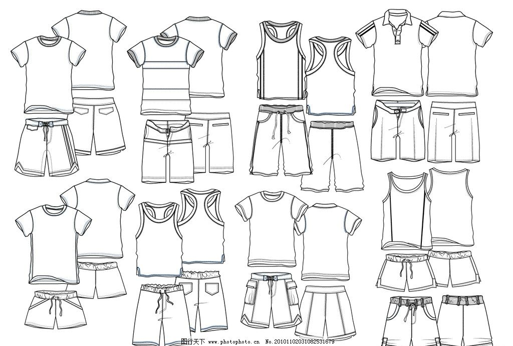 款式图 男童服装 男童服饰 童装服饰 t桖 衬衫 七分裤 短裤 服装 流行
