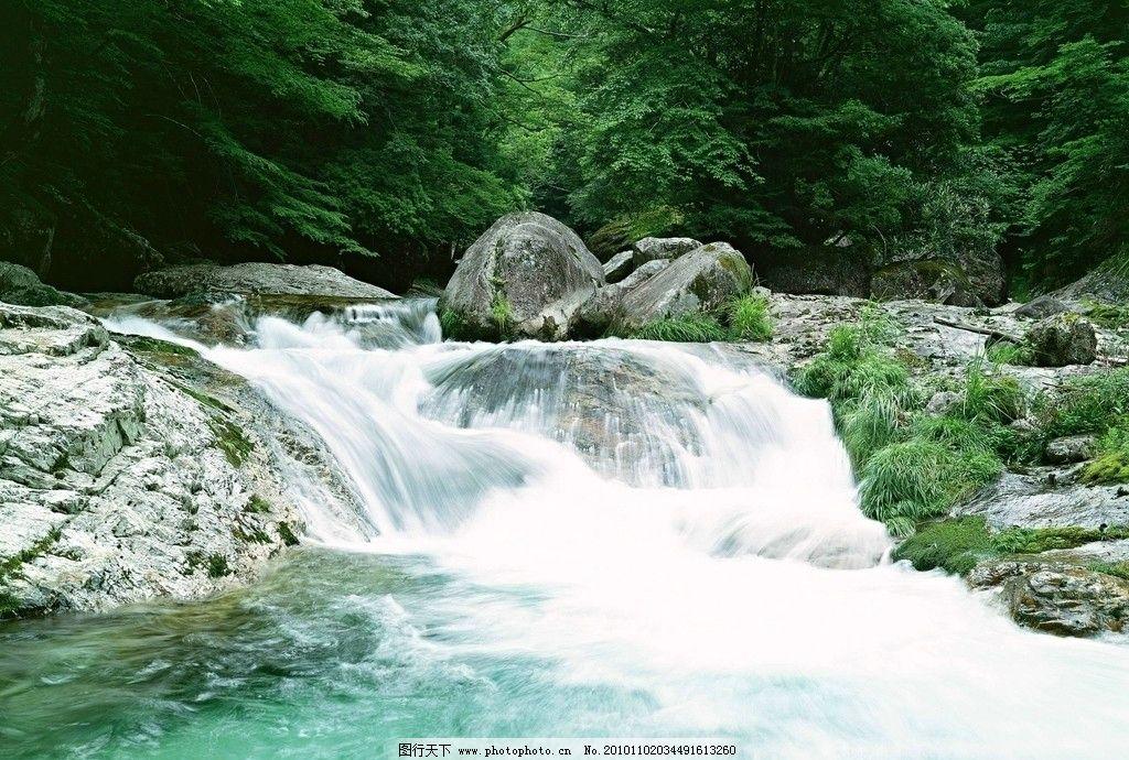 山水画 瀑布 树木 山水 青苔 石头 岩石 流水 山水风景 自然景观 摄影