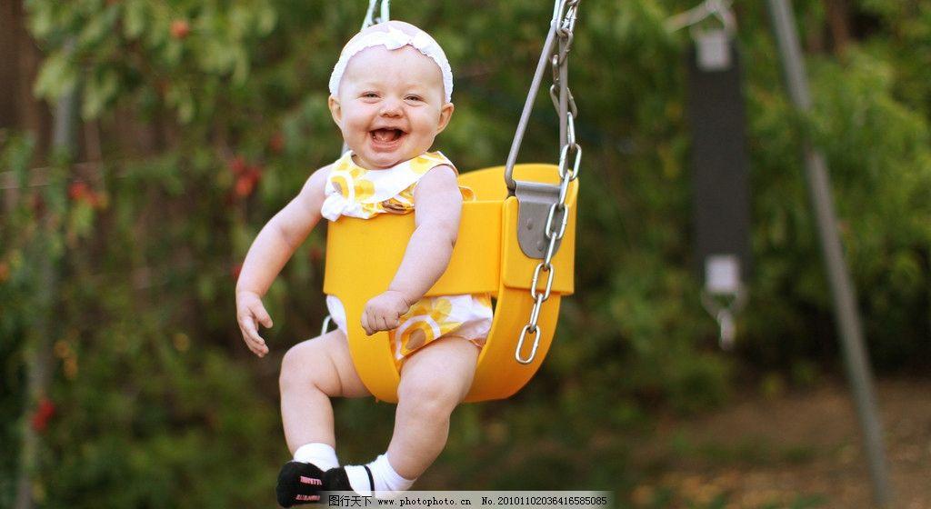 可爱的小孩高清图片,小女孩 笑容 大笑 秋千 头饰-图