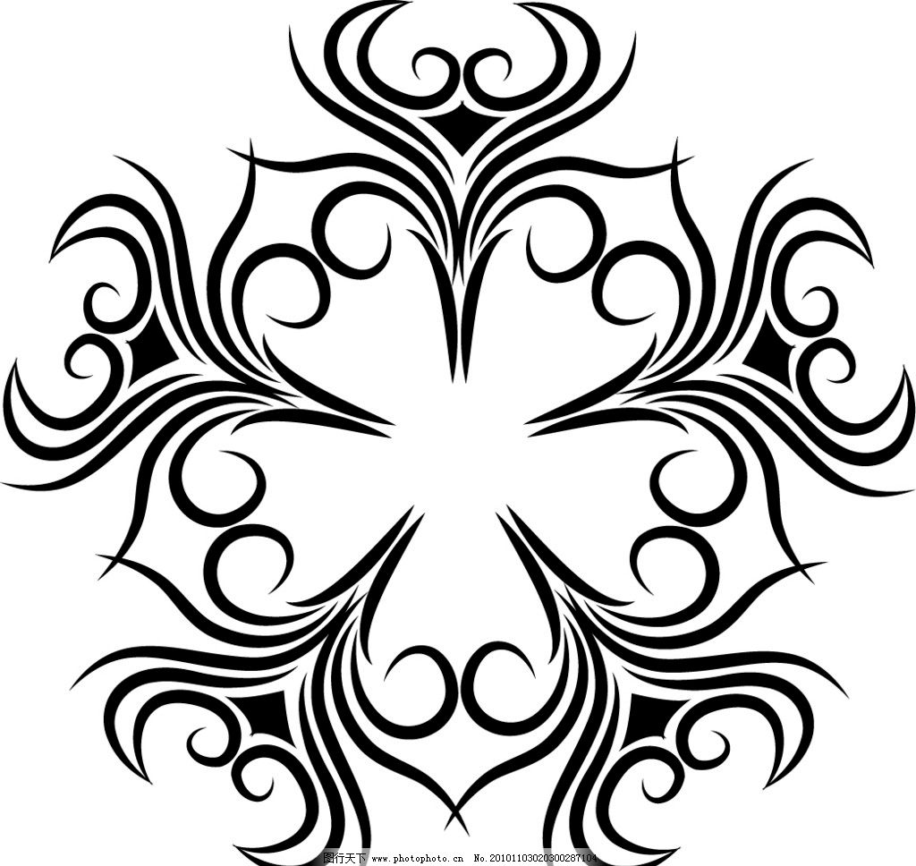 花纹 黑色花纹 适合纹样 装饰图案 ai格式矢量图形rgb颜色模式 花边花
