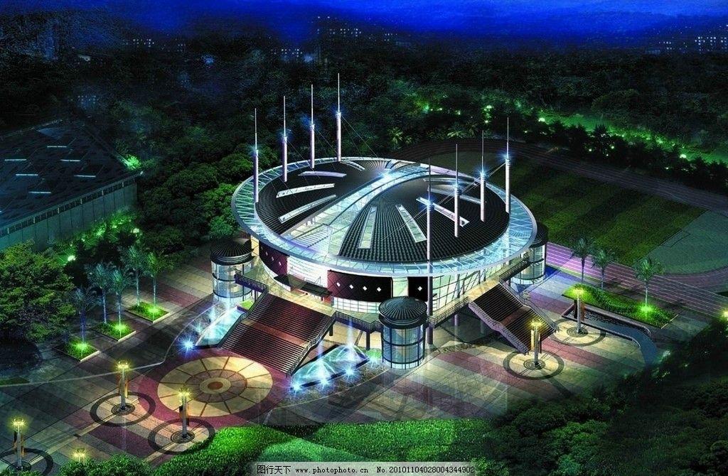 园林建筑 园林景观设计效果图 房地产设计欣赏 夜景 喷泉 灯光 绿化