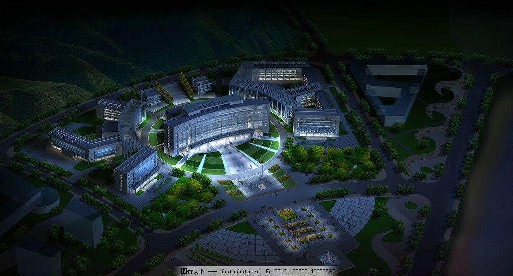 建筑景观鸟瞰图图片