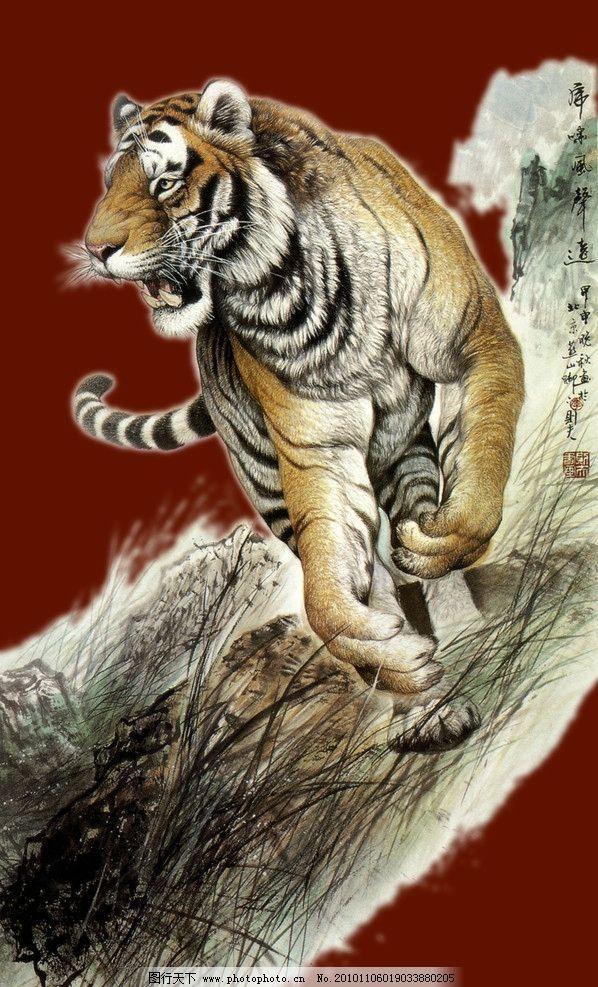 老虎 工笔画 国画 野生动物 食肉动物 绘画书法 文化艺术 设计 400dpi
