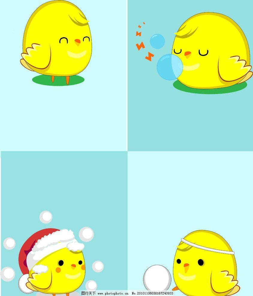 可爱小鸡 小小鸡 吹泡泡 雪球 圣诞帽 移门 图案 移门图案 广告设计