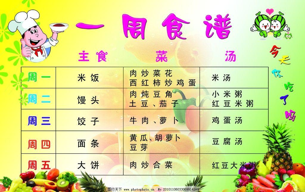 幼儿园食谱 可爱字体 卡通厨师 可爱的卡通水果 水果蔬菜 幼儿园食谱
