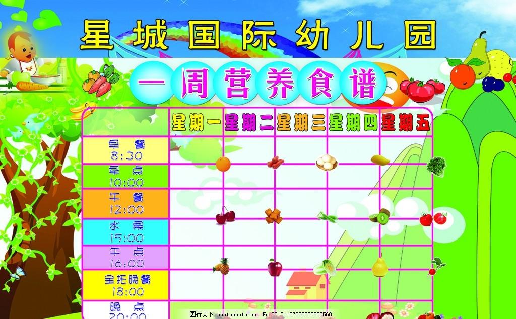 幼儿园食谱 背景 营养食谱 一周食食谱 表格 水果 儿童 卡通
