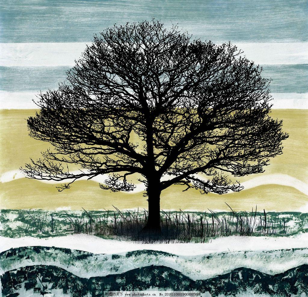 田野大树 抽象 田野风景 冬天 月色 雪地 树 月光 田野风光 绘画书法