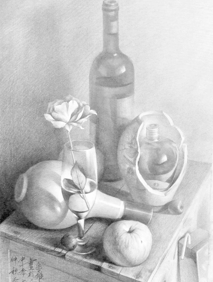 红酒瓶子结构素描