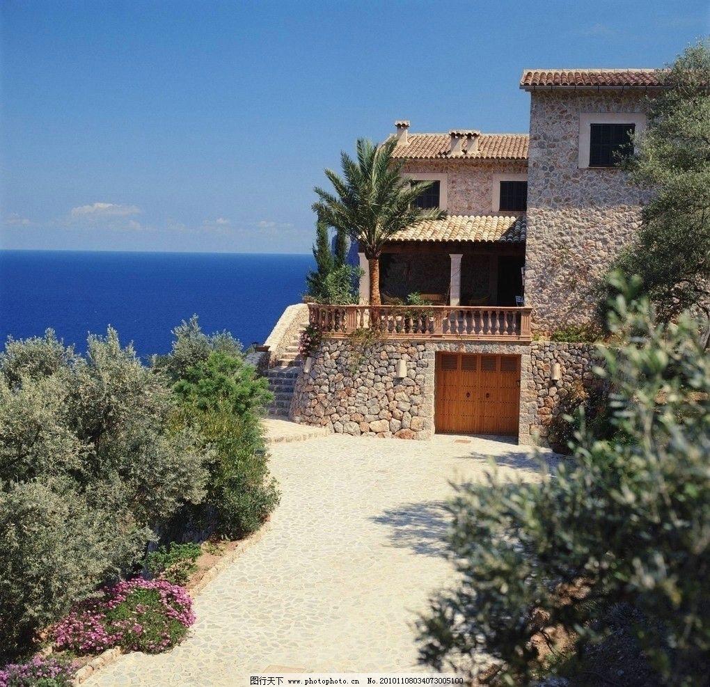 海滩住宅 大海 蓝天 白云 住宅 小花 椰树 石头房子 国外景观 国外