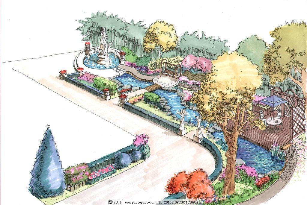手绘别墅 手绘花园 别墅手绘图 花坛 树 别墅设计 花园设计 景观设计