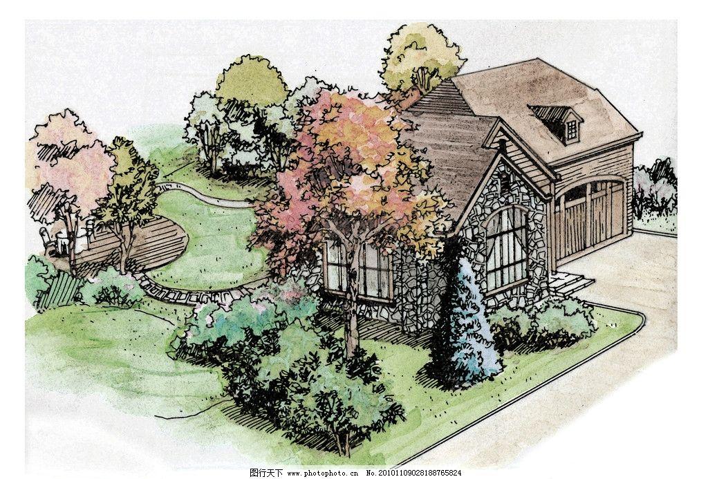 手绘别墅 手绘花园 别墅手绘图 别墅设计 花园设计 景观设计 环境设计