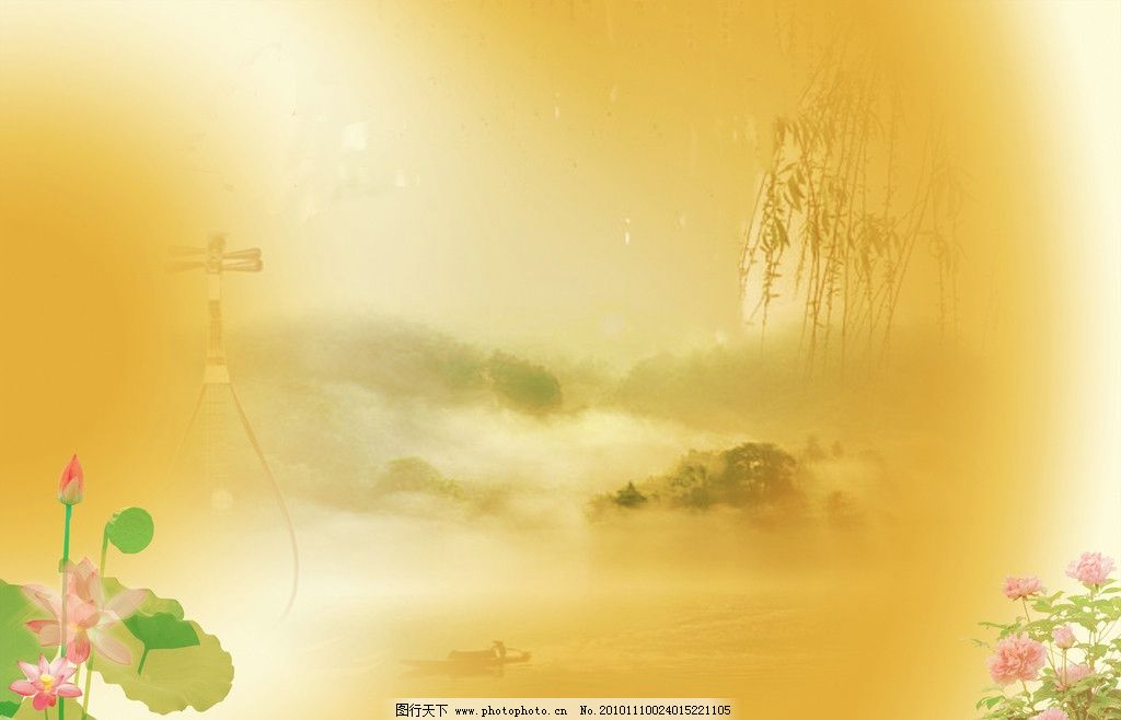 山水画背景 山水画 背景 荷花 柳树 牡丹 琵琶 小舟 自然风光 自然